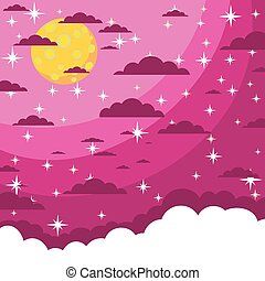 Night beautiful moonlit sky, vector illustration - Night...