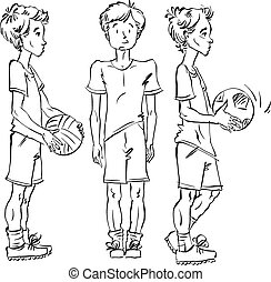 Set of vector full-length hand-drawn Caucasian teens with a soccer ball, black and white front and side view sketch of youngsters, monochrome illustration of standing boys.