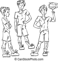 Set of vector full-length hand-drawn Caucasian teens with a soccer ball, black and white front and side view sketch of youngsters, monochrome illustration of standing boys. Teenager with a spinning soccer ball on his finger.