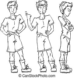 Set of vector full-length hand-drawn Caucasian teens, black and white front and side view sketch of an angry youngster threatening the fist, monochrome illustration of standing adolescent with hand crossed on chest, akimbo.