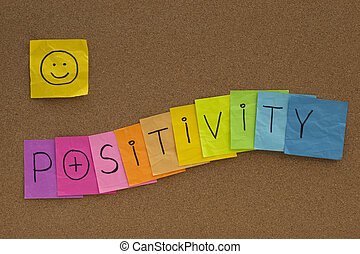 positivity concept with smiley on cork board - positivity...
