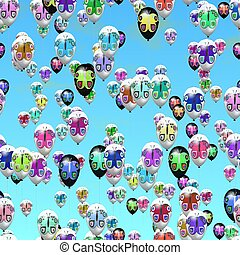 party balloons with butterflies - Air party balloons with...