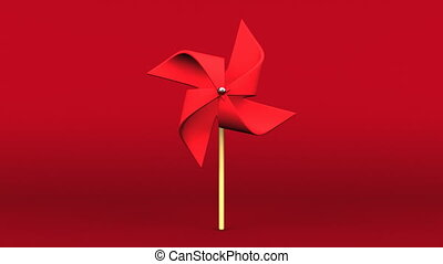 Loopable Red Pinwheel On Red Background