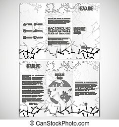 Vector set of tri-fold brochure design template on both...