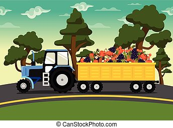 Vector tractor with vegetables flat illustration
