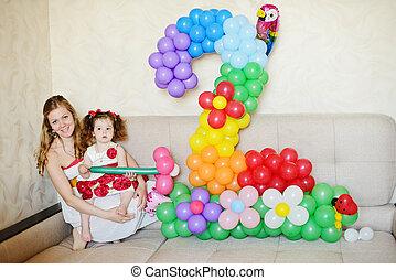 2-nd birthday og toddler girl at home