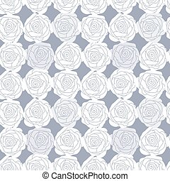 Seamless pattern with white roses