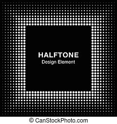 White Abstract Halftone Square Frame Background
