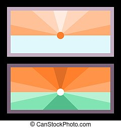 Two banners with radiant sun over horizon - stylized flat...