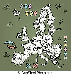 Doodle Europe map on green chalkboard with pins and extras...