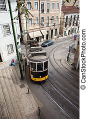 Urban Scenery of Lisbon - Traditional vintage tram nr 28 in...