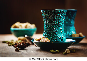 Tea or Hot Wine with Various Spices in Traditional Turkish...