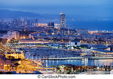 Barcelona Cityscape by Night - City of Barcelona at night in...