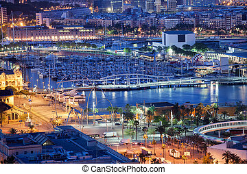 City of Barcelona by Night - City of Barcelona at night in...
