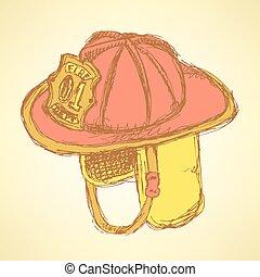 Sketch fire helmet in vintage style, vector
