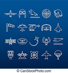 aviation outline icons