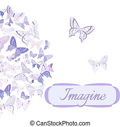 Card with butterflies arranged in semicircle - Greeting card...