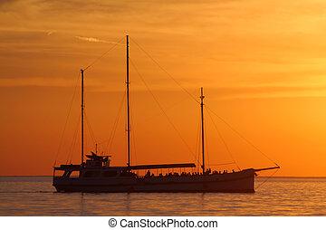 Ship during sunset