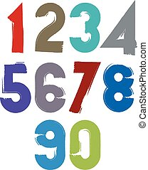Calligraphic brush numbers, hand-painted bright vector...