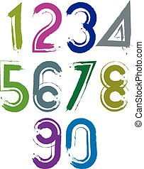 Calligraphic brush numbers with white outline, hand-painted...