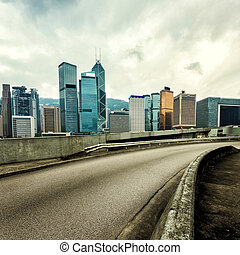 cityscape and modern office buildings in hongkong