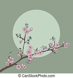 Flowering cherry branch on background of moon. Vintage