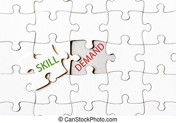 Missing jigsaw puzzle piece with word SKILL, covering text...