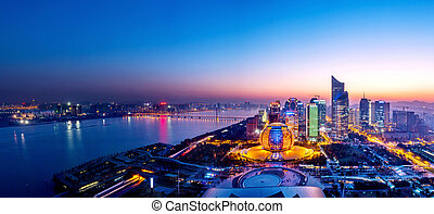cityscape night view in hangzhou