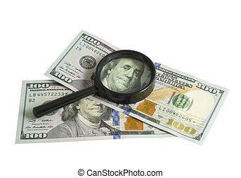 Money and magnifying glass - Magnifier with dollar isolated...
