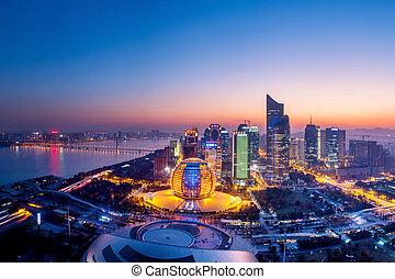 panoramic night view of Hangzhou, china