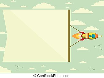 Rocket with a banner in the sky, vector illustration