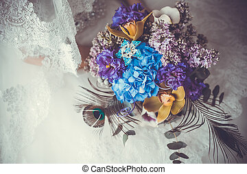 flower wedding bouquet for bride on white background