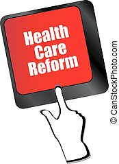 health care reform shown by health computer keyboard button...