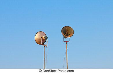 loudspeakers on blue sky