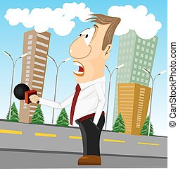 cartoon news reporter with microphone - illustration of...