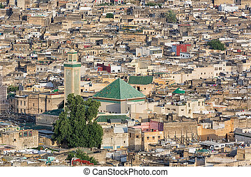 Aerial over the medina in Fes - View over the ancient medina...