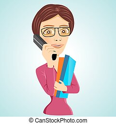 teacher with glasses and folders - illustration of teacher...