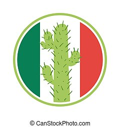 Mexican cactus in a circle on the background of the flag of...