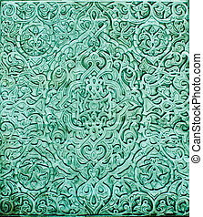 Ancient Arabian decorative ornament - Colourful wall full of...