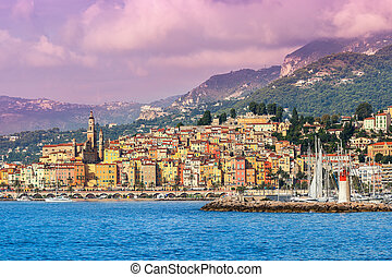 Town of Menton on French Riviera - Sea view of town of...