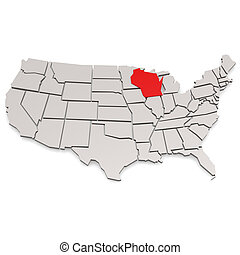 Wisconsin map image with hi-res rendered artwork that could...