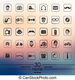 Set of hipster icons - hipster modern icons for mobile...