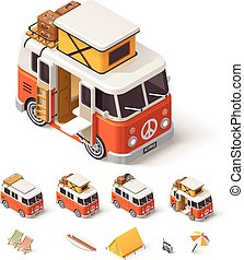 Vector isometric camper van - Isometric retro camper van and...