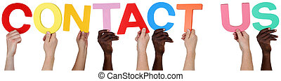 Multi ethnic group of people holding the word Contact Us...