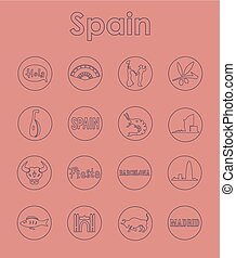 Set of Spain simple icons - It is a set of Spain simple web...