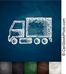 delivery van icon Hand drawn vector illustration Chalkboard...