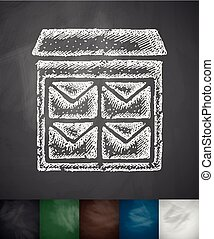 letter-box icon Hand drawn vector illustration Chalkboard...