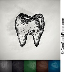 tooth icon. Hand drawn vector illustration. Chalkboard...