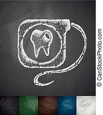 dental floss icon Hand drawn vector illustration Chalkboard...