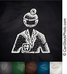 stomatologist icon Hand drawn vector illustration Chalkboard...